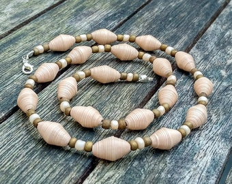 Handmade necklace with beige recycled paper, bronz and cream pearl glass beads