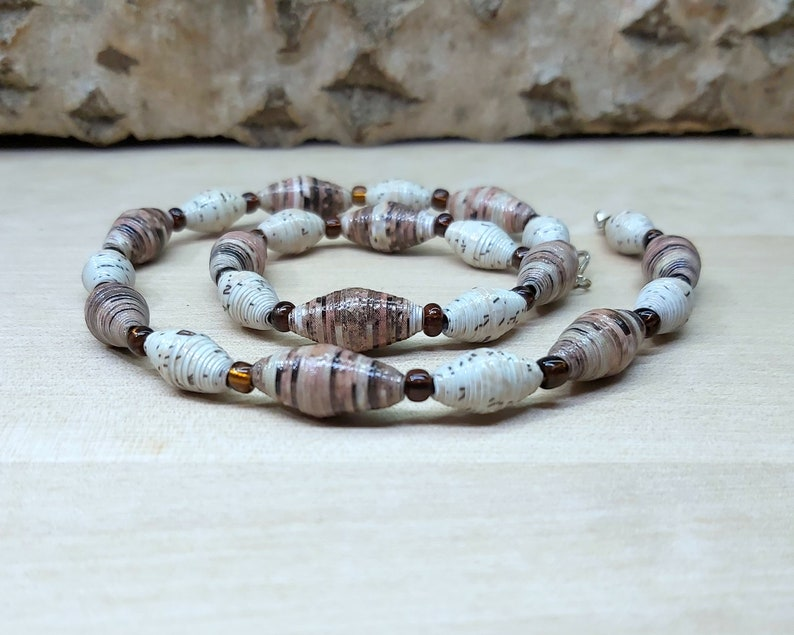 Handmade necklace with cloudy beige brown recycled paper dark amber glass seed beads with silver plated clasp