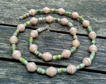 Handmade necklace with beige and green recycled paper beads