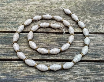 Handmade necklace with cloudy beige recycled paper and bronze spacer beads