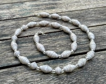 Handmade necklace with cloudy beige  recycled paper and silver glass beads