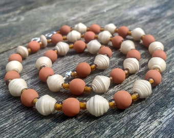 Handmade necklace with beige recycled paper, matte terracotta and dark amber glass bead