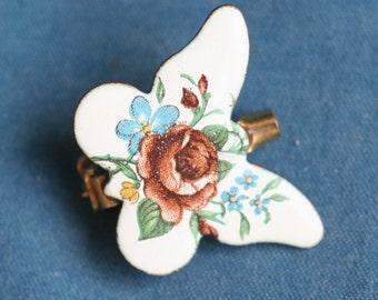 vintage Enamel butterfly pin brooch Beautiful 1980's 1990's