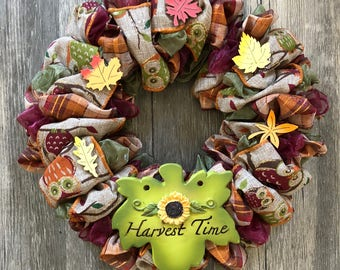 """8"""" Harvest Time Fall Wreath, Owl & Leaves, Burlap and Organza Ribbon"""