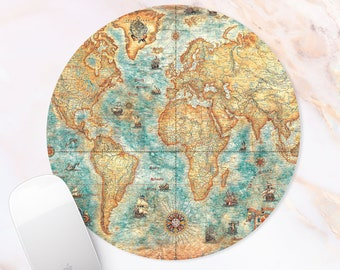 World Map Mousepad Atlas Mouse pad Earth Continents Mouse mat Office desk Pad Earth Art Print accessory for Women geography teacher Gift