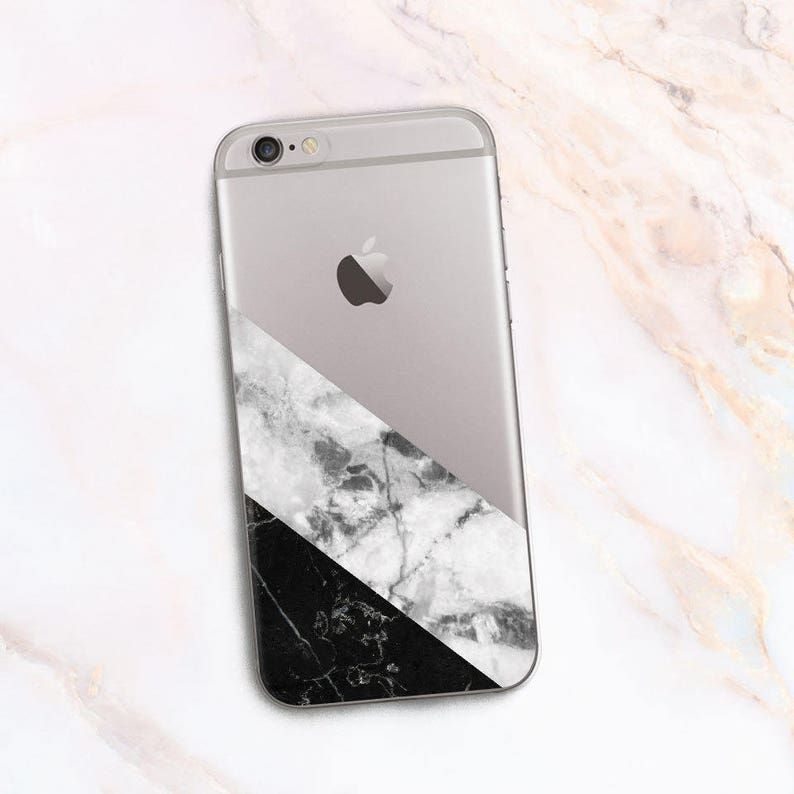Geometry Case For Iphone 7 8 White And Black Marble Etsy