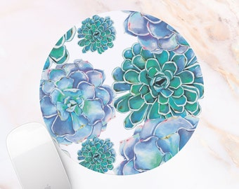 Succulents Office Mouse pad Rectangle Mousepad Round Flowers Desk Pad Floral mouse pad Office gift for her desk accessories 18