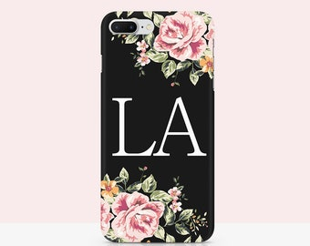 Custom iPhone Case iPhone 11 Pro Max 8 Plus Personal Initial iPhone SE case Cover for iphone 8 Bumper Personilized gift idea Floral Custom