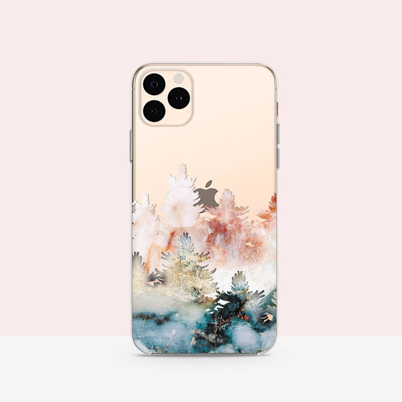 Trees iPhone 7 Case Watercolor Forest iPhone 11 Max case image 0