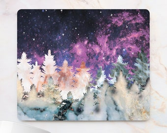 Marbled Forest Mousepad Watercolor Trees Mousemat Coworker Gift Paint Floral Night wood Desk Accessory Nature Mouse Pad Tree Print Mouse Mat