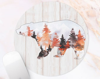 Bear Mousepad Forest Mouse Pad Coworker Gift Wooden Texture Mouse Mat For Office Workplace Desk Accessory Rubber Mat Wild Animal Desk Mat