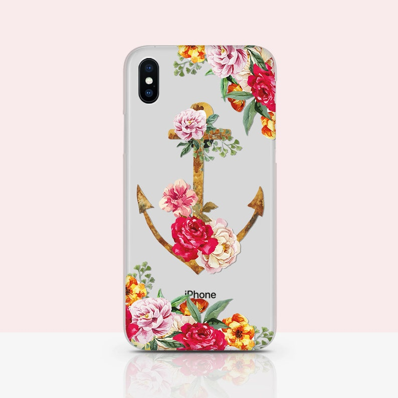 buy online 6a6bc 4d96f Flowered Anchor iPhone case Blossom flowers phone Cover Nautical iPhone 7 8  plus Cover for iPhone 5s SE Case Nauti Case Girly iPhone 7 case