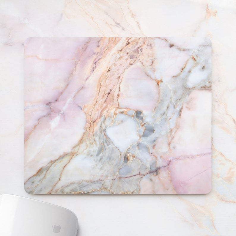 Office Mousepad Rectangle Mousepad Round White gold Marble Pad Rectangular
