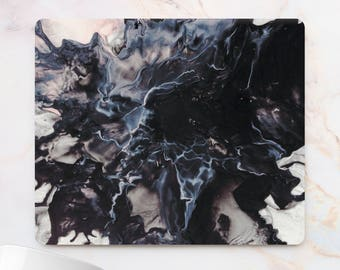 Dark liquid Office Mousepad Rectangle Mousepad Round Black Marble Pad Splash ink mouse pad Abstract marble desk gift 10