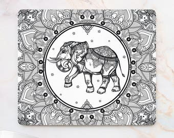 Elephant Mandala Mousepad black and white printed Mouse Mat Mouse Pad indian Office Mousemat Elephant Mouse Pad  Accessories for Her 14