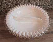 SIlvercrest Milkglass Ruffle Divided Dish