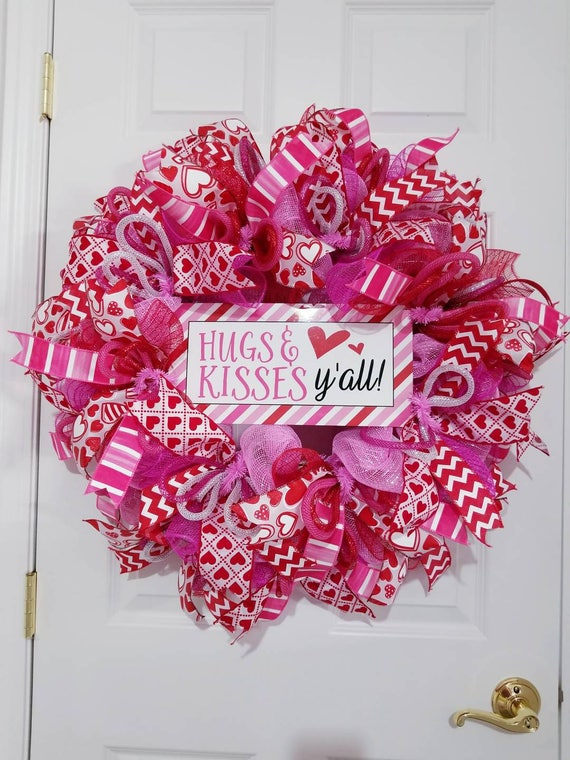 Valentine Wreath For Front Door Valentines Day Door Decor Etsy