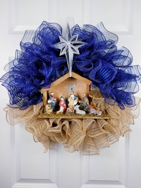 Who Accepts American Express >> Nativity wreath Christmas manger wreath Religious wreath ...
