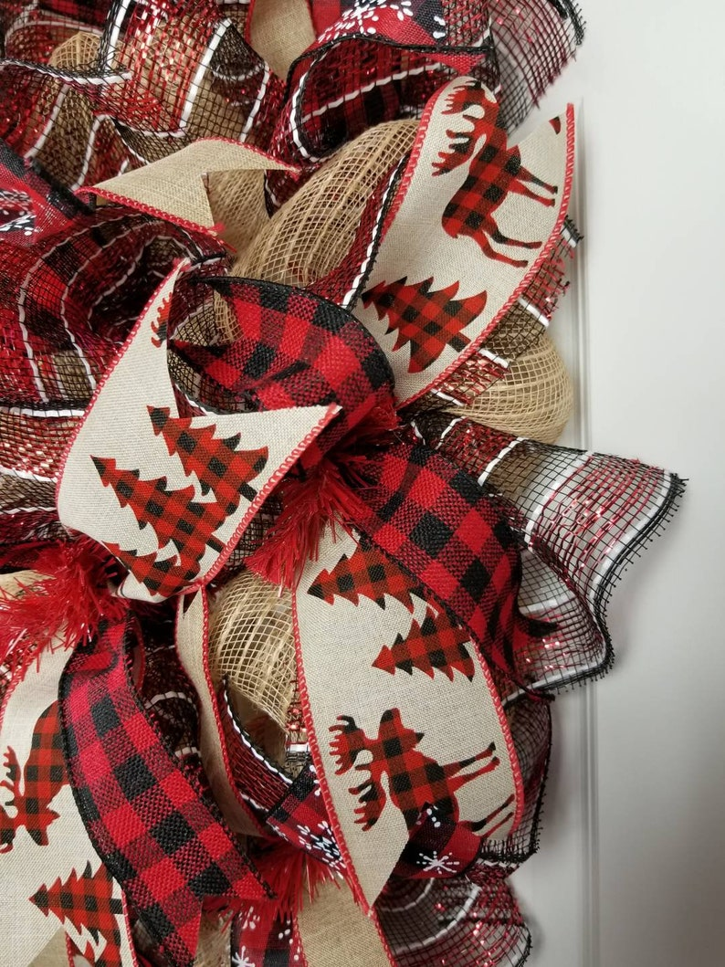 Christmas wreath for front door Rustic Christmas wreath Buffalo plaid wreath Farmhouse Christmas decor Winter door decor Holiday wreath
