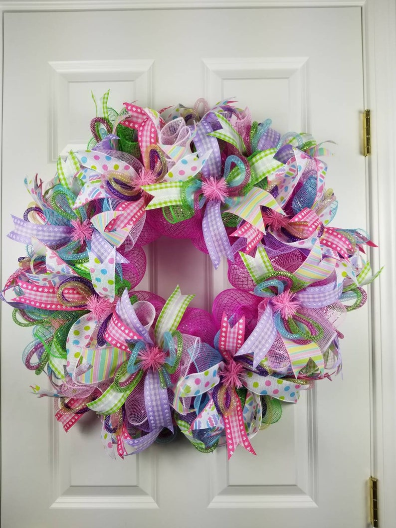 Lighted Easter Decor Front Door Decor Welcome Wreath Etsy