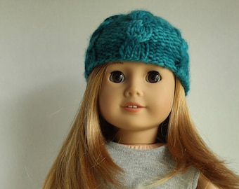 Crest (Blue-Green) Cable-Knit for (AG) American Girl Doll Hat/Beanie