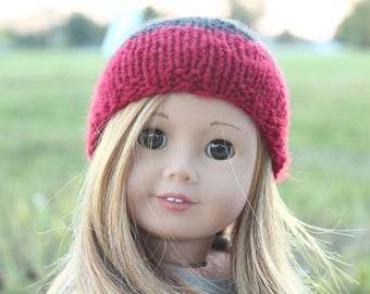 Red and Black Striped Doll Hat For American Girl Dolls/ag/18 Inch doll