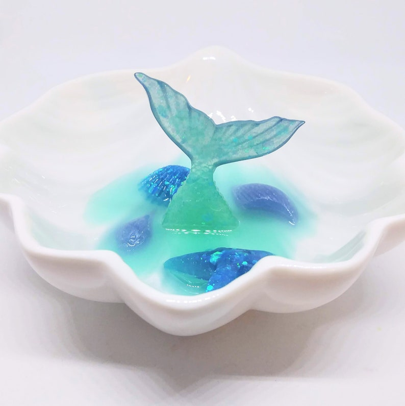 Aqua and Blue Sparkle Mermaid Tail Trinket Dish