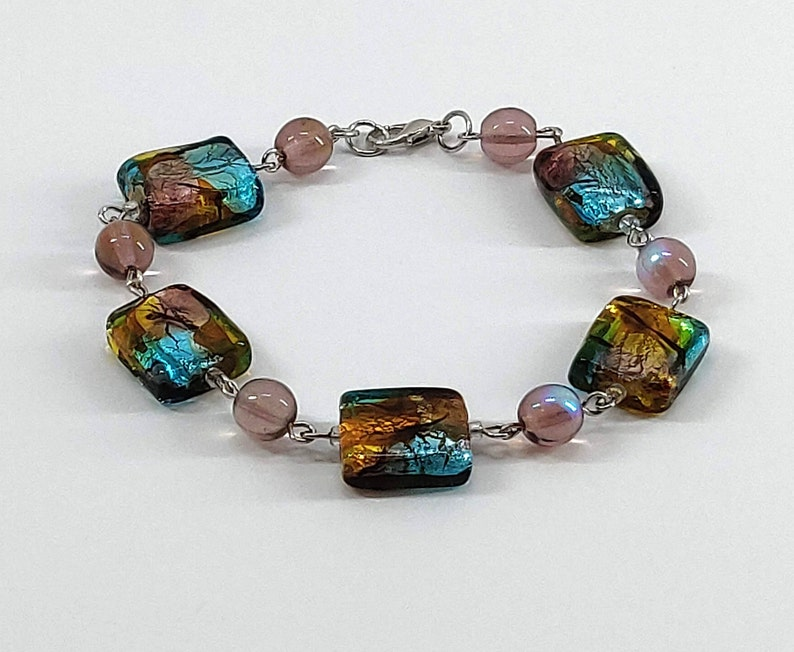Foil Rainbow Square Bead Bracelet Women's Jewelry image 0