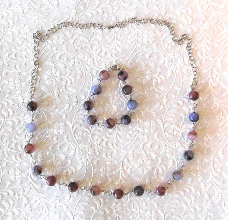 Amethyst Round Bead Necklace and Bracelet Jewelry Set image 0