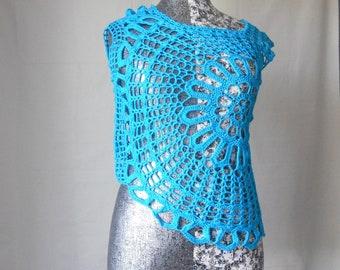 Crochet turquoise blue cotton blouse