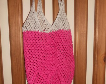 Shopping bag raspberry pink and beige crochet