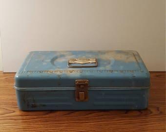1960's Vintage Metal Storage Box, Crafting, Upcycling, Home Decor, Office Decor, Farmhouse Decor, Cottage Decor, Vintage Tools, Tool Box