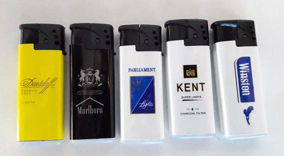 5x New Cigarettes Lighters Marlboro Winston Davidoff Kent Parliament  Refillable Jet flame Torch Windproof Advertising Lighter