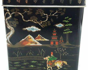 Vintage Tin Box Storage Box Baret Ware England Metal Box With Oriental Senses Beautiful Colors & Gold Lines Nos