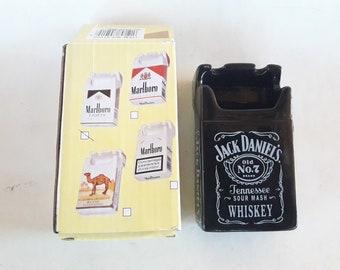 Jack Daniels Old No. 7 Black Ceramic Ashtray Advertising Jack Daniels Cigarettes Pack Shape Ashtray Ceramic Boxed Nib