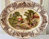 Magnificent Rural Scenes Clarice Cliff Oval Plater A J Wilkinson Polychrome Brown Transferware