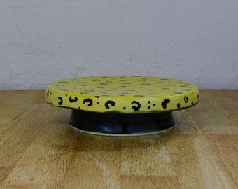 Handmade Porcelain Cake Stand- Yellow w/ Black Leopard Spots