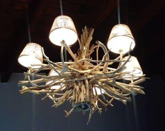 Driftwood chandelier,ceiling hanging light,driftwood lamp,lighting,beach,coastal,nautical,rustic,farmhouse,lake,wood lamp,cottage,modern