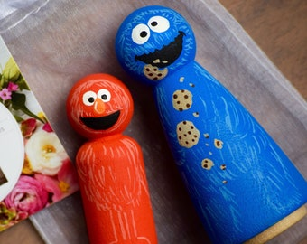 Elmo and CookieMonster Toy Caketopper Peg Dolls, Elmo Toy, Cookie Monster Peg Dolls, Sesame Street Peg Dolls,