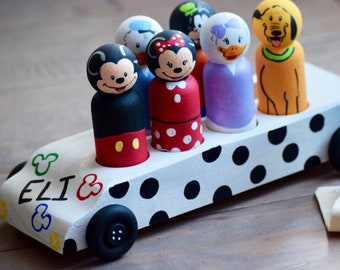 Mickey Toy Bus, Personalized Mickey Toy, Personalized Car, Peronalized Gift for Kids,  Wooden Toys, Name Toy