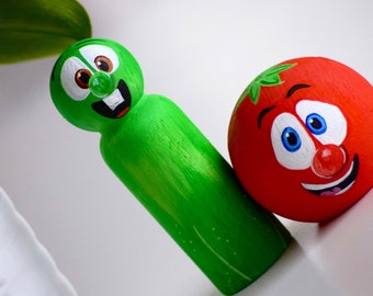 Veggie Tales Toys, Veggie Tales Peg Dolls, Wooden Peg Doll Toys, Cartoon Characters,