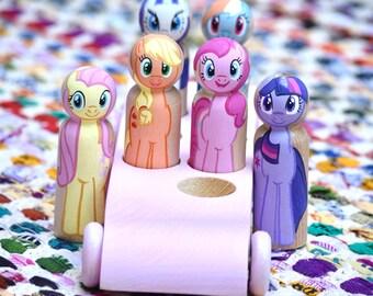 6 My Little Pony Peg Dolls with Wooden Peg Doll Bus, My Little Pony Toy, My Little Pony Birthday Caketopper, Pony Toys, Pony Peg Dolls