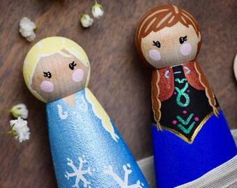 Anna Elsa Toys, Anna and Elsa Peg Dolls, Frozen Toys, Anna and Elsa Toys, Princess Anna, Queen Elsa, Frozen Caketopper, Gift for Kids, Princ