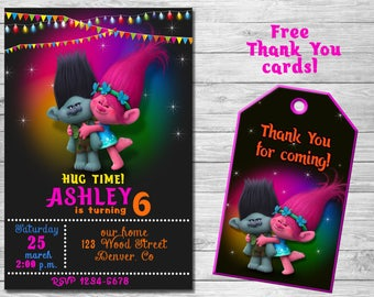 Trolls Birthday Invitation Thank You Cards Party Troll Invites Printables