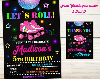 Roller Skate Invitation Invite Party Outfit Birthday Drome Skating