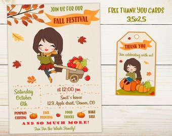 Fall Festival Invitation Flyer Harvest Party Carnival Birthday Autumn Pumpkin Invite