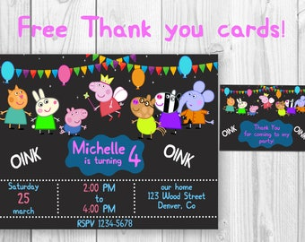 Peppa Pig Birthday Invitation Thank You Cards Party Invites Favors Tags Printables Supplies Outfit