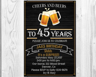 Cheers And Beers Adult Birthday Invitation Party 45th Invite Surprise Printable Beer
