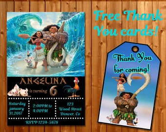 Moana Invitation Thank You Maui Birthday Party Invite Printable Princess Favors