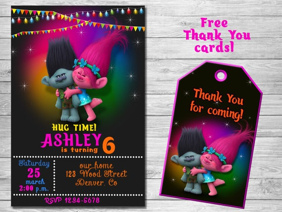 trolls birthday invitation thank you cards trolls etsy